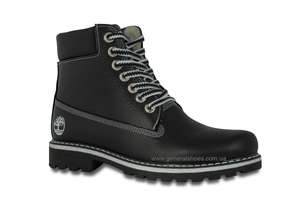 Зимние женские кожаные ботинки 106 черные фото 3