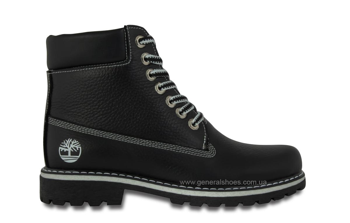 Зимние женские кожаные ботинки 106 черные фото 4