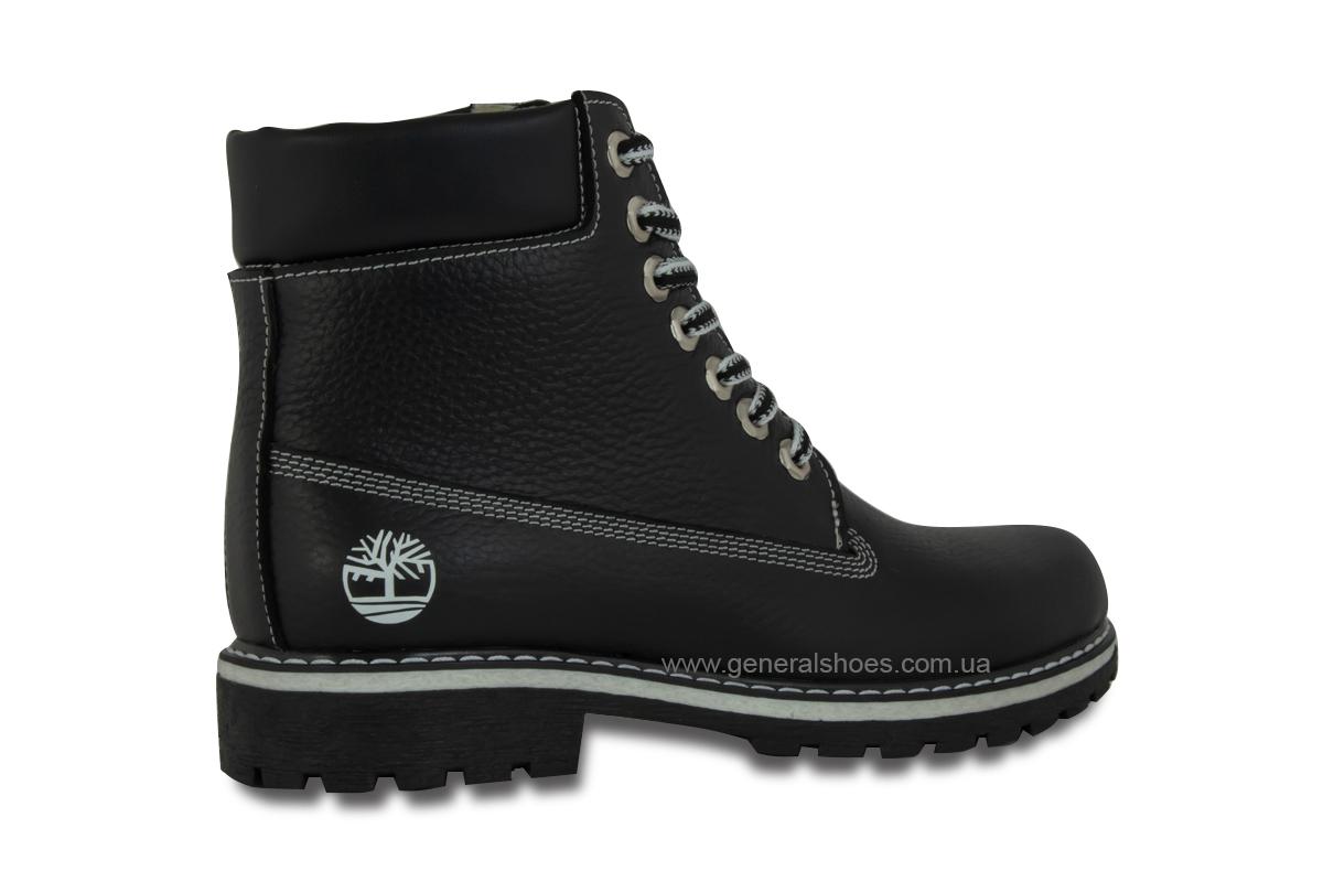 Зимние женские кожаные ботинки 106 черные фото 5