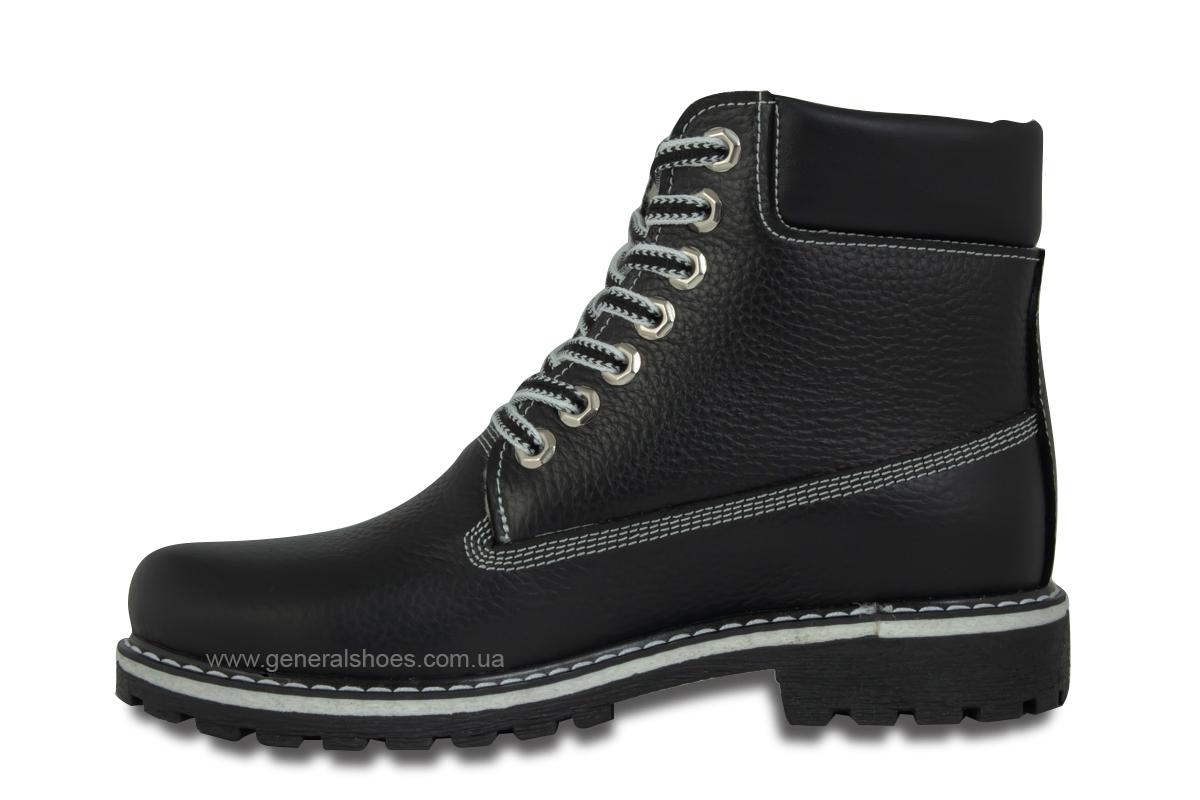 Зимние женские кожаные ботинки 106 черные фото 6