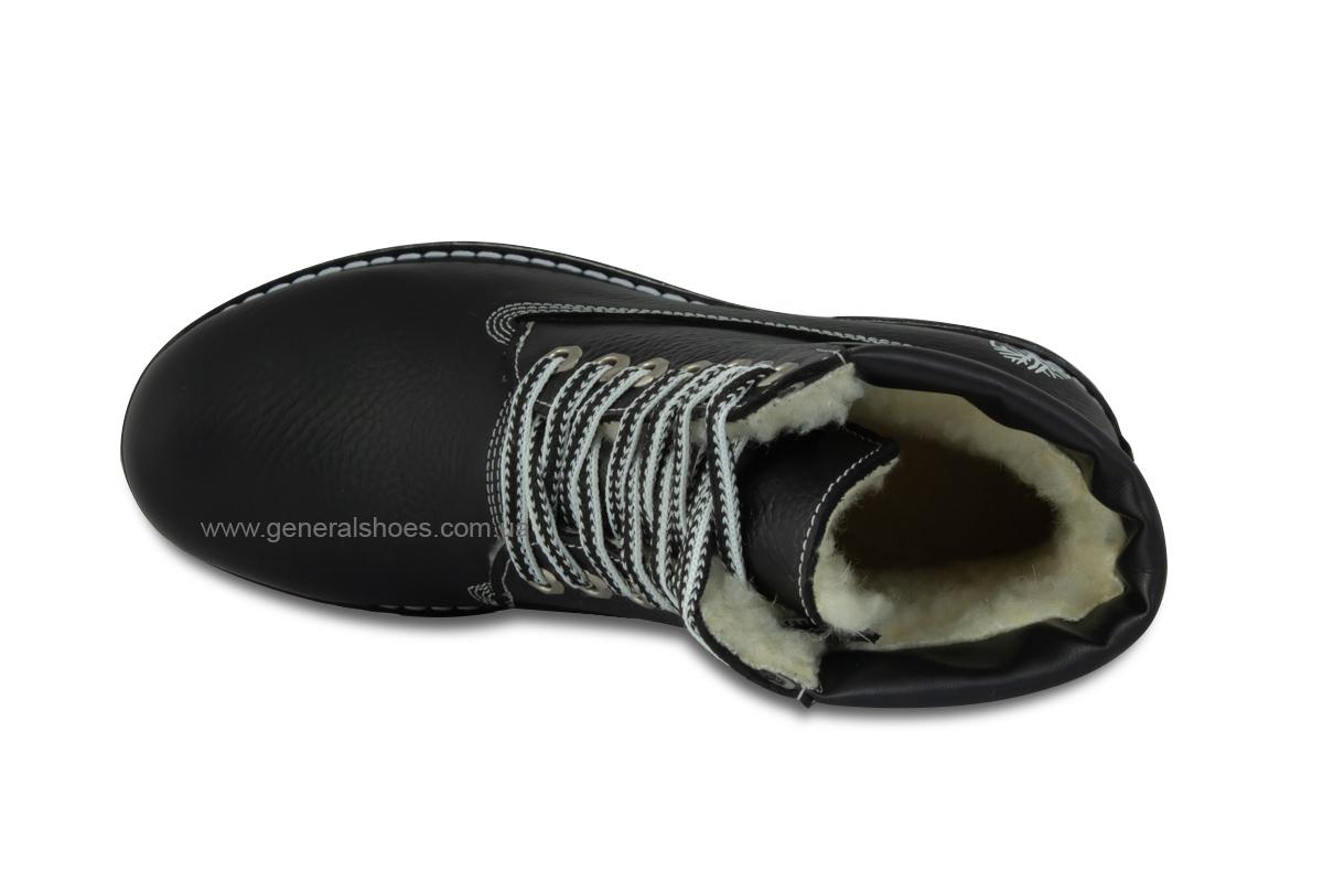 Зимние женские кожаные ботинки 106 черные фото 7