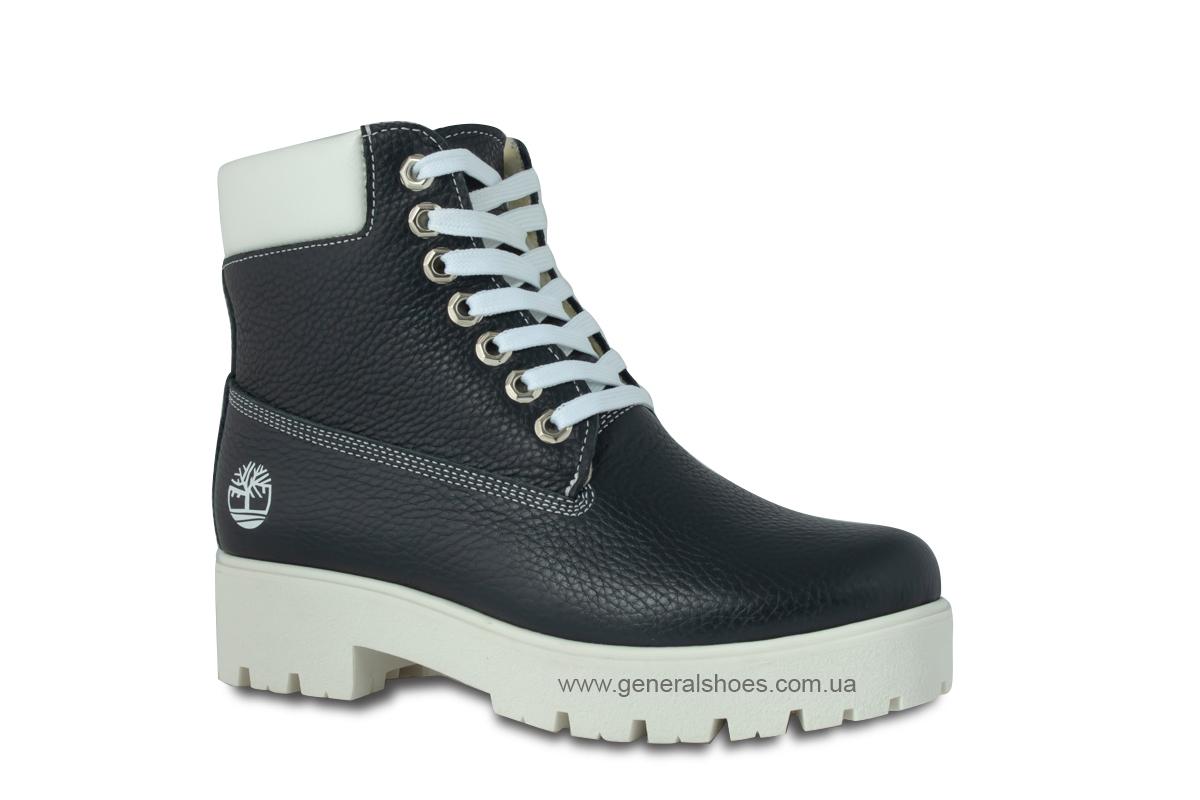 Зимние женские кожаные ботинки 1105 синие фото 3