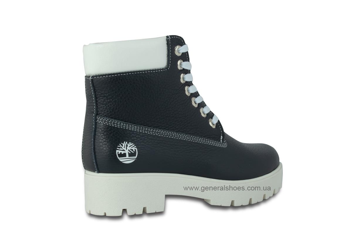 Зимние женские кожаные ботинки 1105 синие фото 5