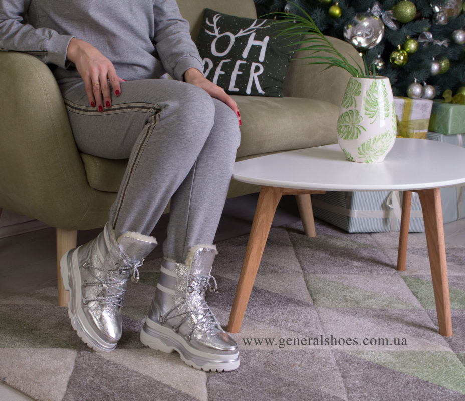 Зимние женские ботинки GL 322 серебро фото 8