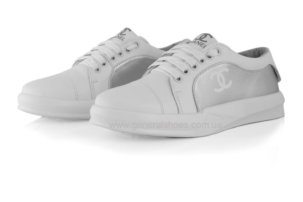 Кроссовки женские кожаные 140 белые фото 6