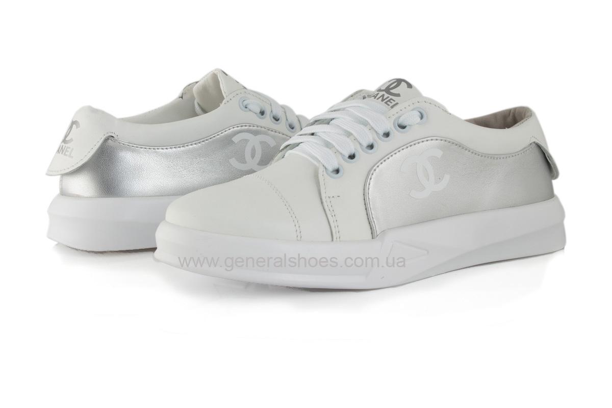 Кроссовки женские кожаные 140 белые фото 7