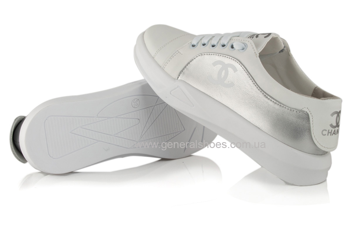 Кроссовки женские кожаные 140 белые фото 8