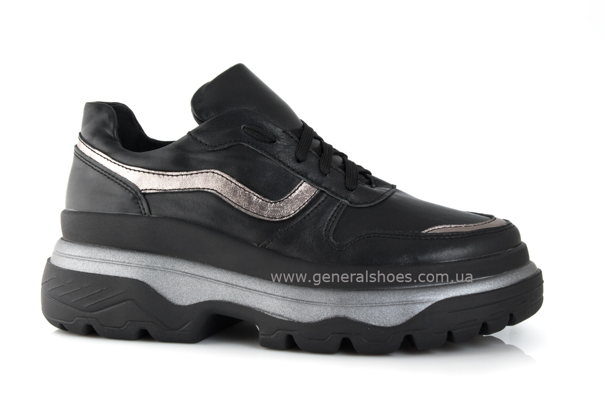 Кроссовки женские кожаные 240 черные фото 1