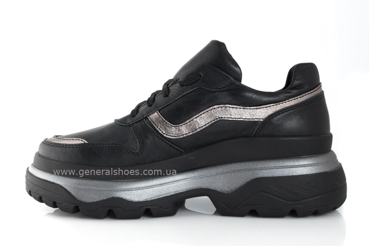Кроссовки женские кожаные 240 черные фото 4