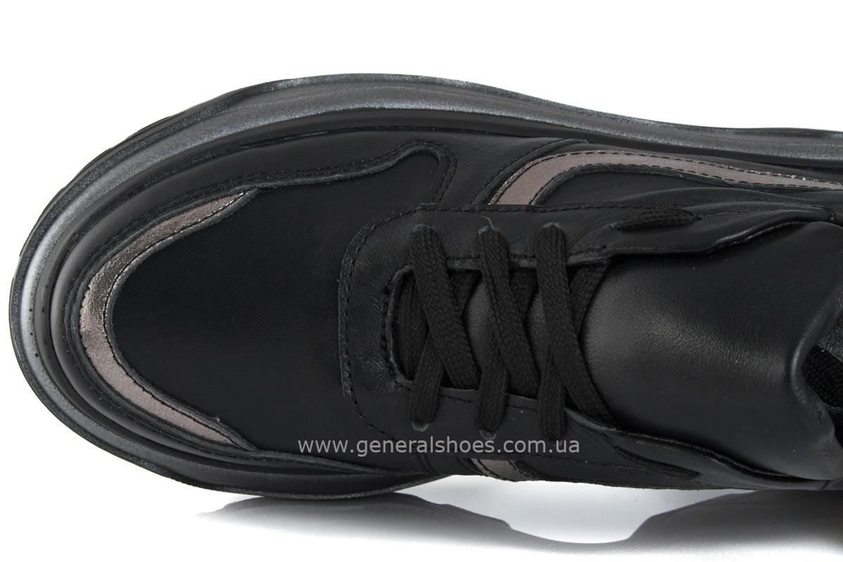 Кроссовки женские кожаные 240 черные фото 5