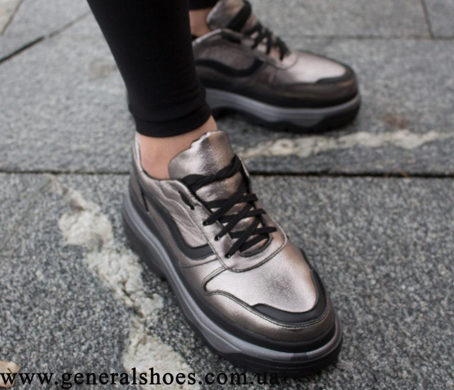 Кроссовки женские кожаные GL 240 бронза фото 2