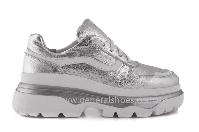 Кроссовки женские кожаные GL 242 серебро фото 2