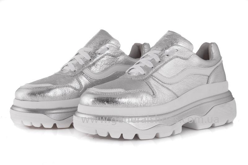Кроссовки женские кожаные GL 242 серебро фото 3