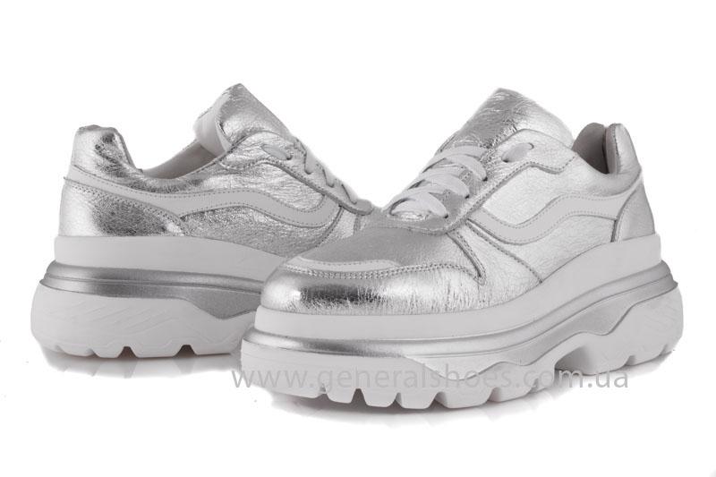 Кроссовки женские кожаные GL 242 серебро фото 4