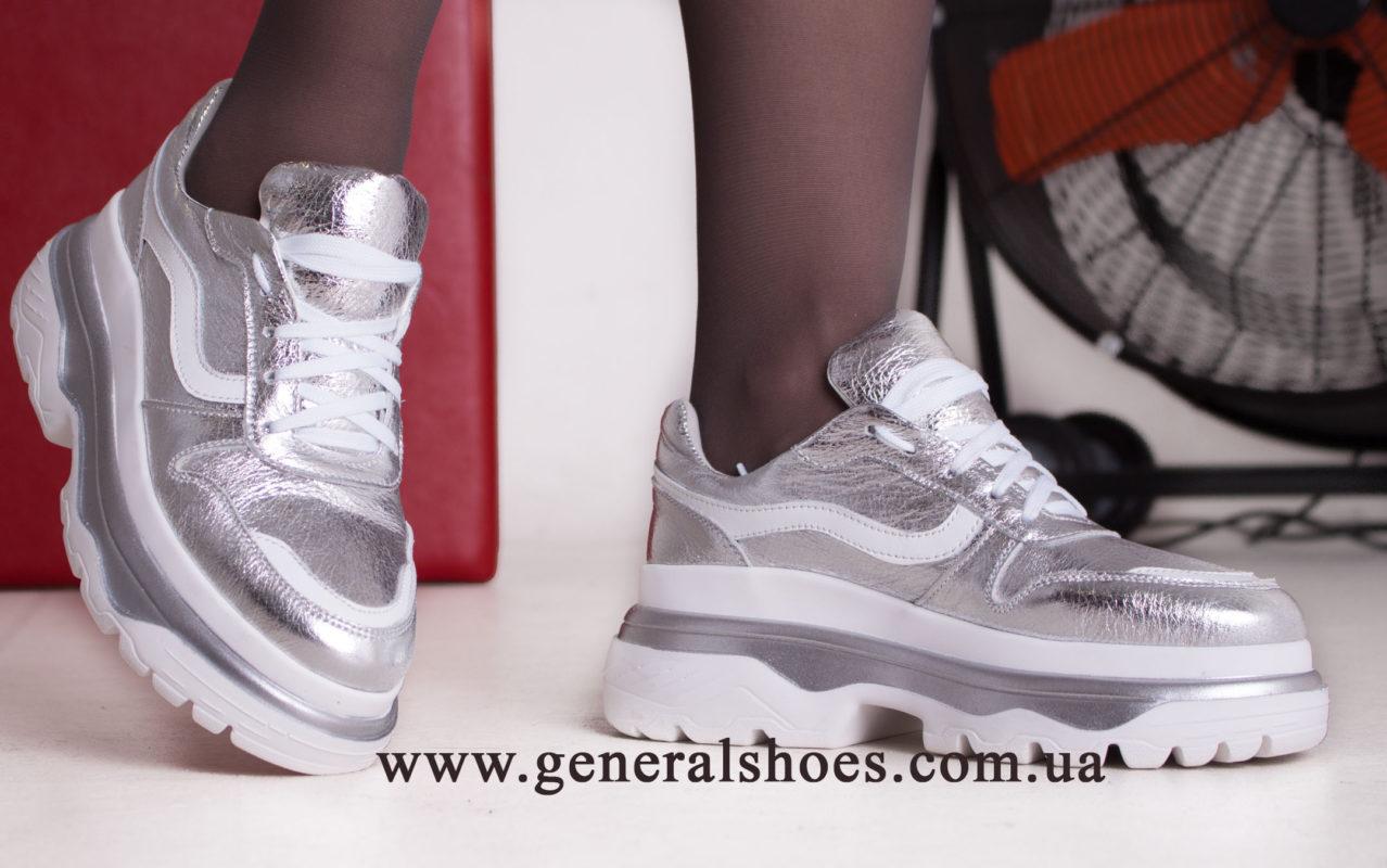 Кроссовки женские кожаные GL 242 серебро