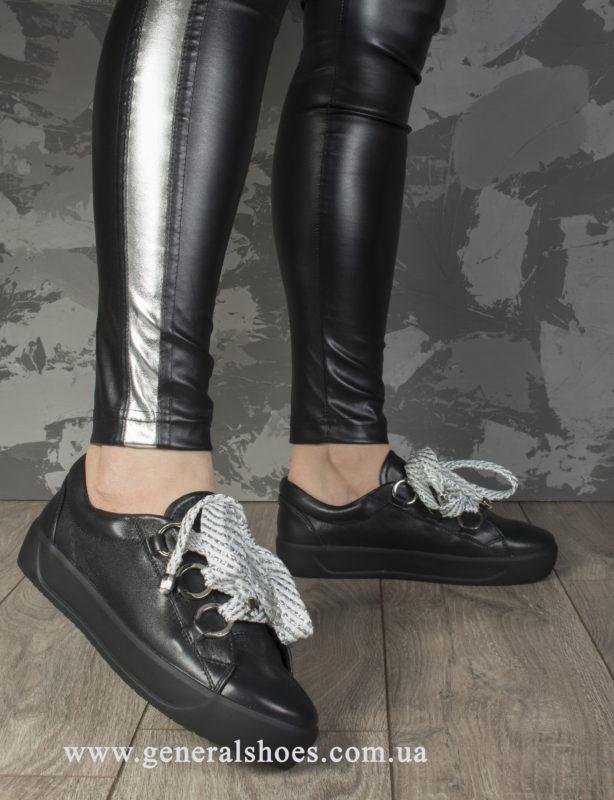 Кроссовки женские кожаные 163 черные фото 10