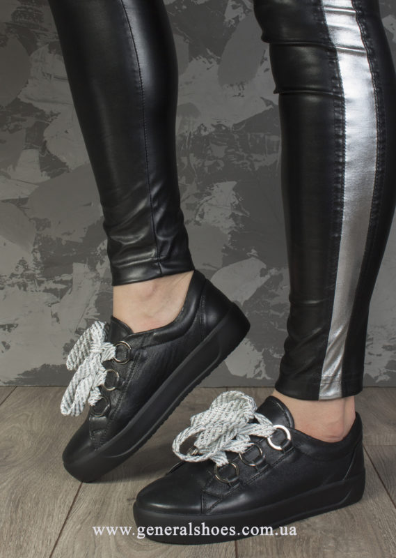 Кроссовки женские кожаные 163 черные фото 9