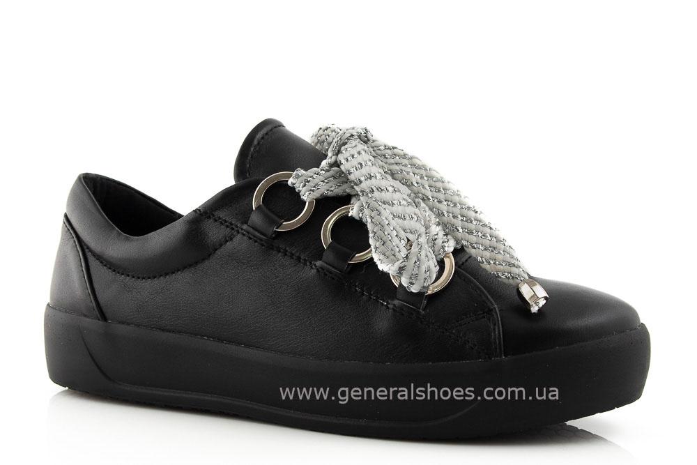 Кроссовки женские кожаные 163 черные фото 1