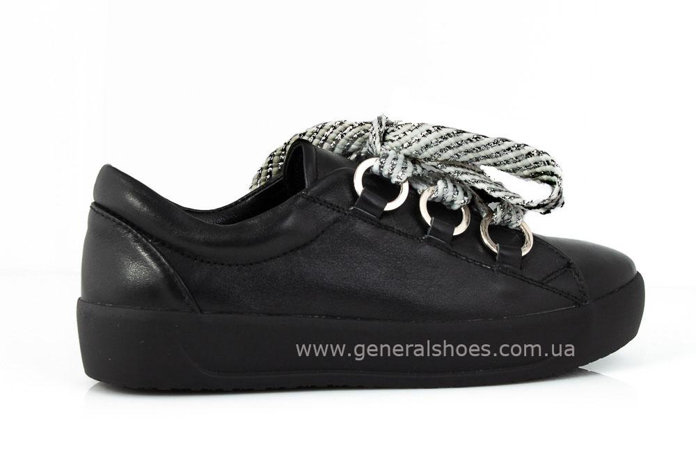 Кроссовки женские кожаные 163 черные фото 3