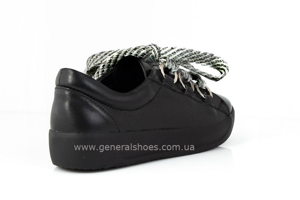 Кроссовки женские кожаные 163 черные фото 4