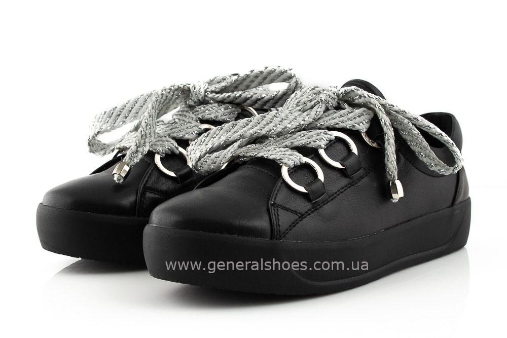 Кроссовки женские кожаные 163 черные фото 7