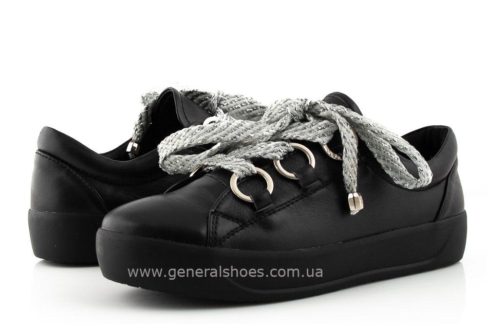 Кроссовки женские кожаные 163 черные фото 8