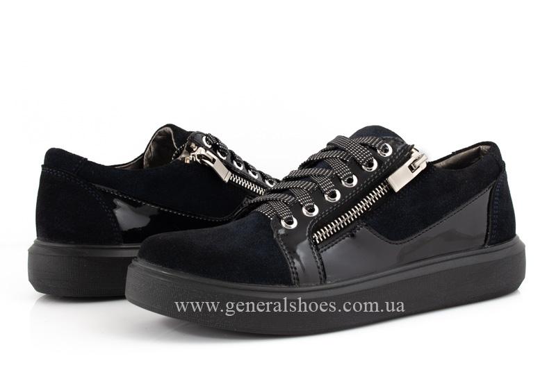 Кроссовки женские кожаные 3532 темно синие фото 8