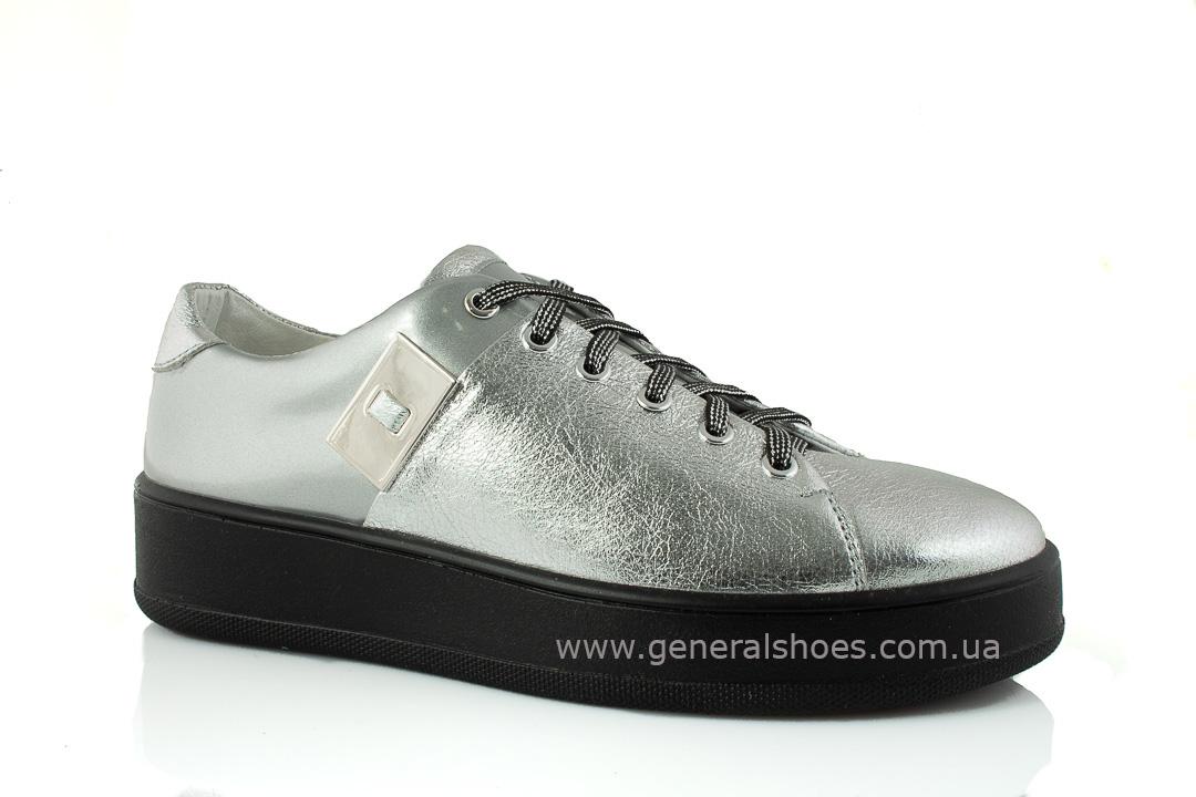 Кроссовки женские кожаные 375 серебро фото 1