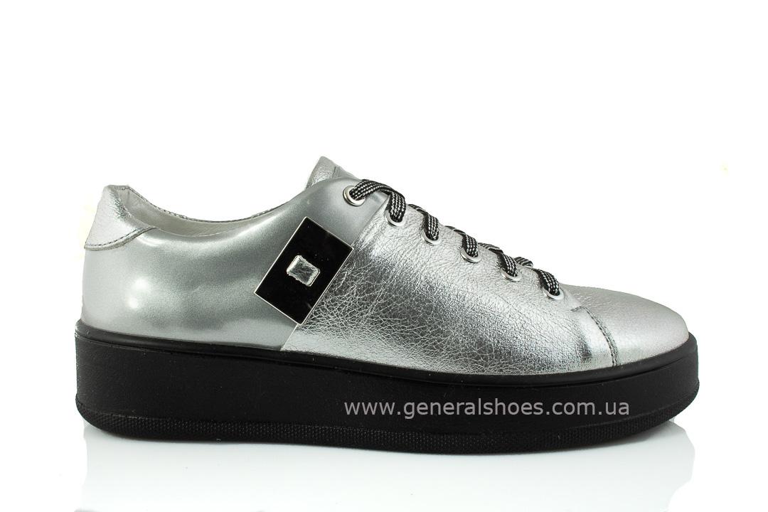 Кроссовки женские кожаные 375 серебро фото 2