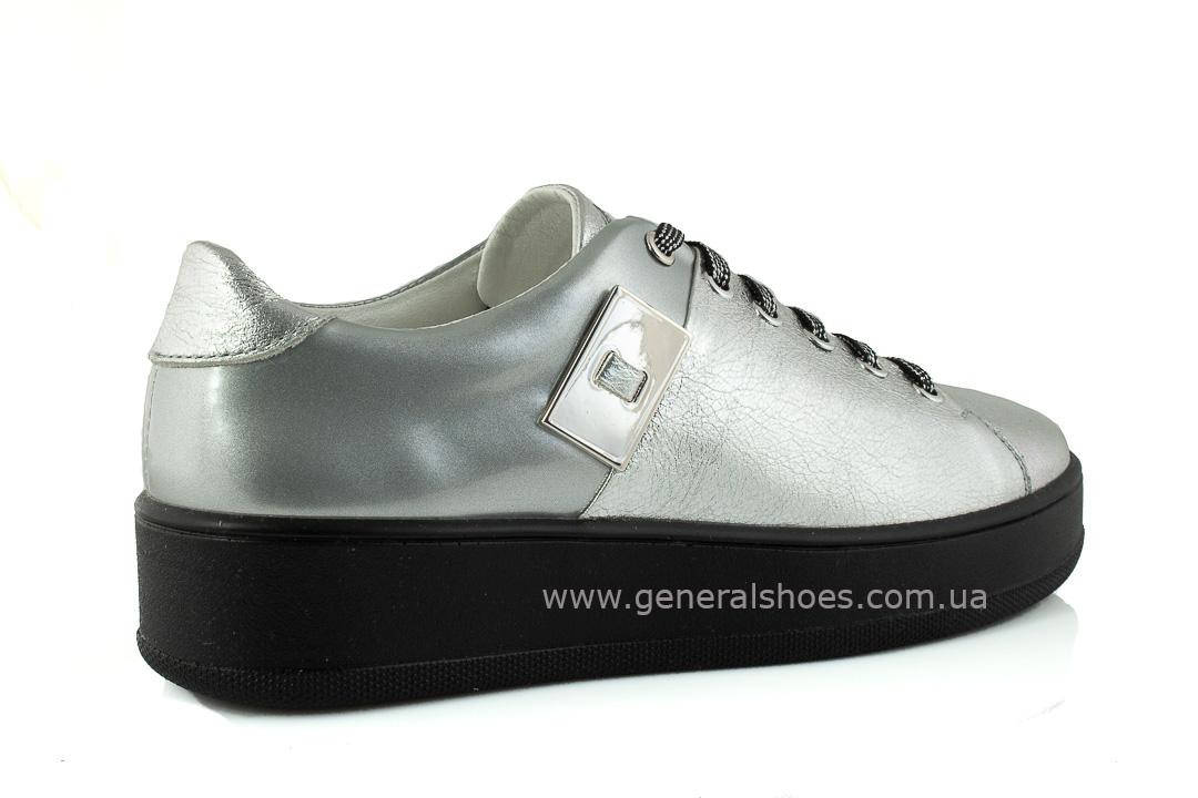 Кроссовки женские кожаные 375 серебро фото 3