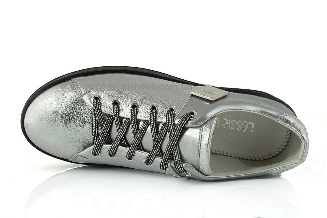 Кроссовки женские кожаные 375 серебро фото 4