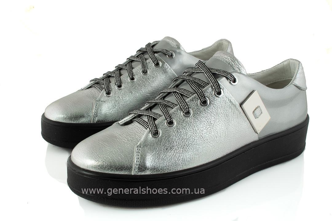 Кроссовки женские кожаные 375 серебро фото 5