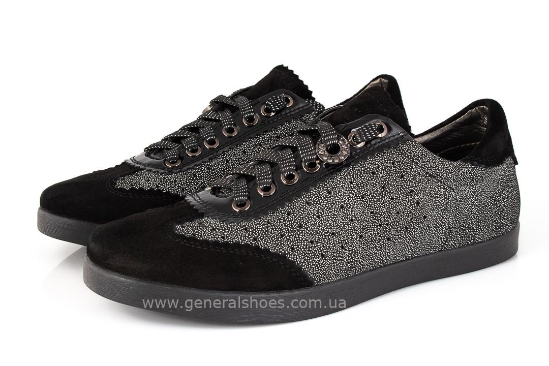 Кроссовки женские кожаные 4550 черные фото 6