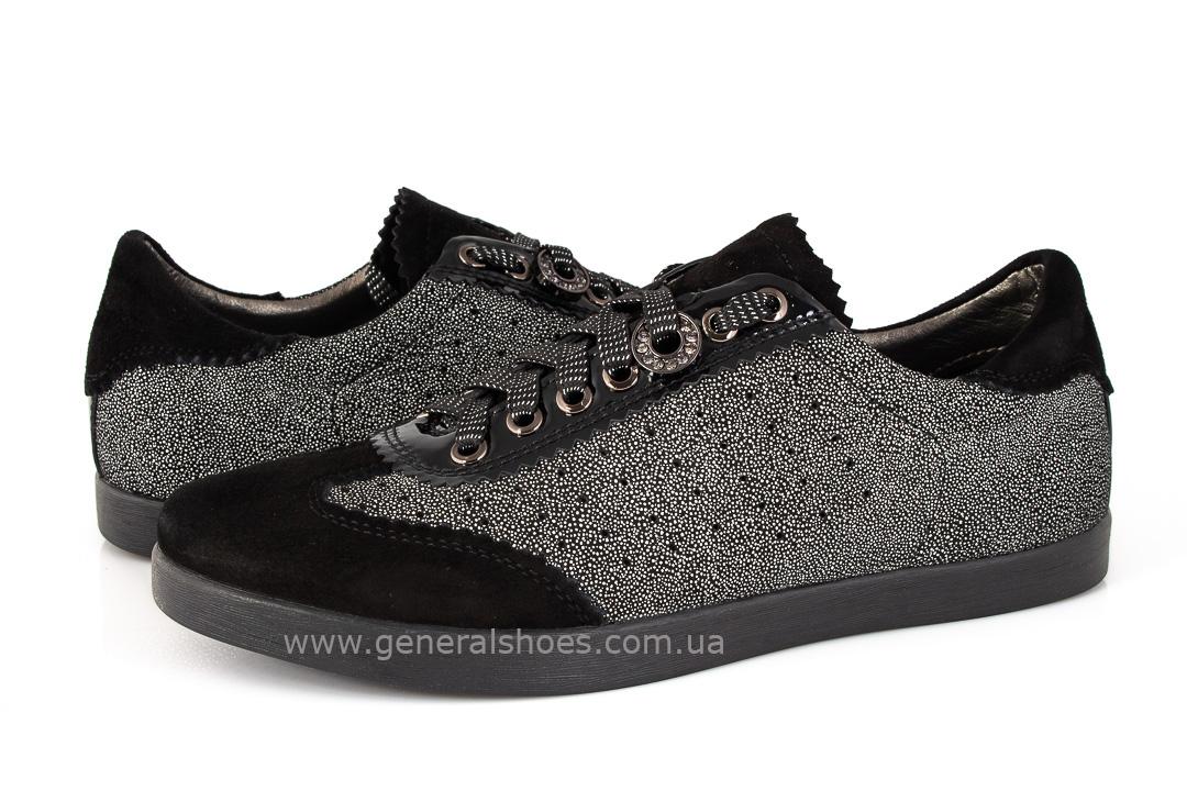 Кроссовки женские кожаные 4550 черные фото 7