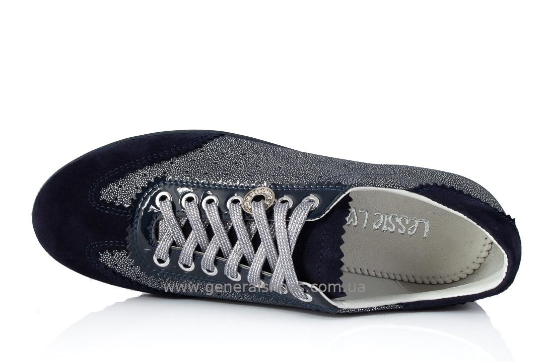 Кроссовки женские кожаные 4550 синие фото 6
