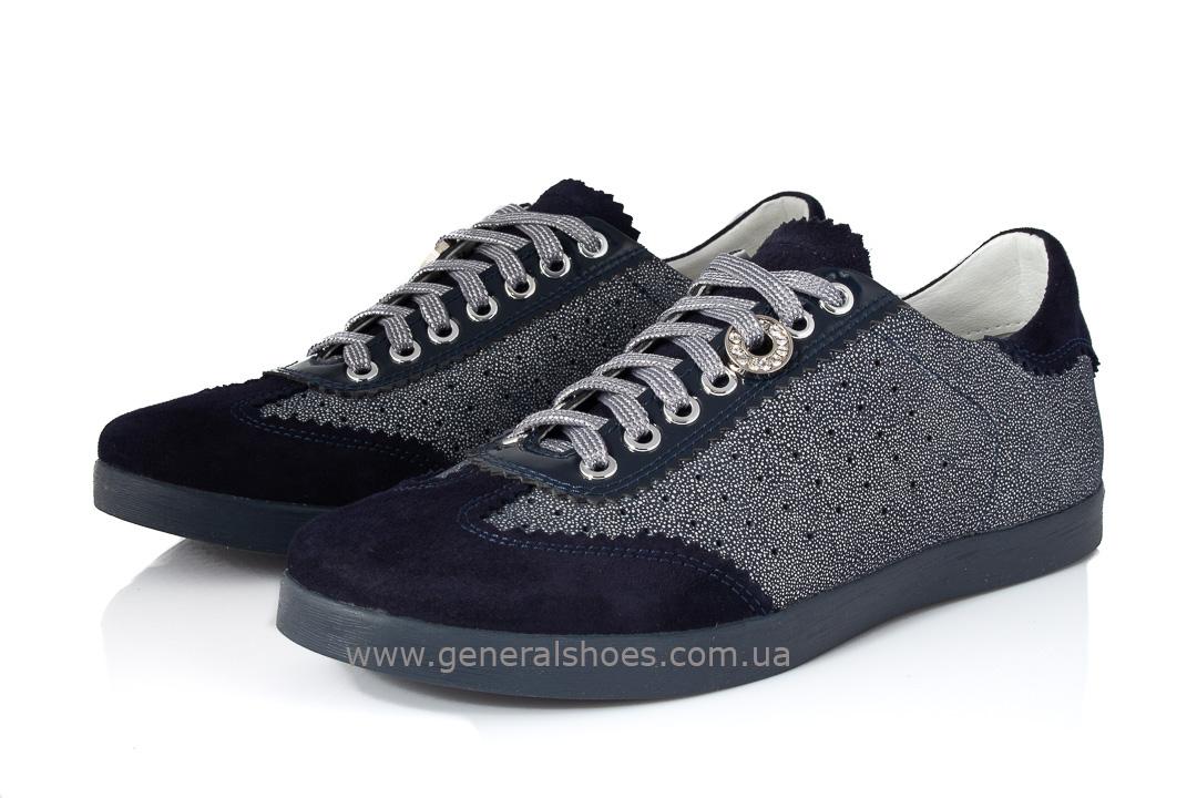 Кроссовки женские кожаные 4550 синие фото 7