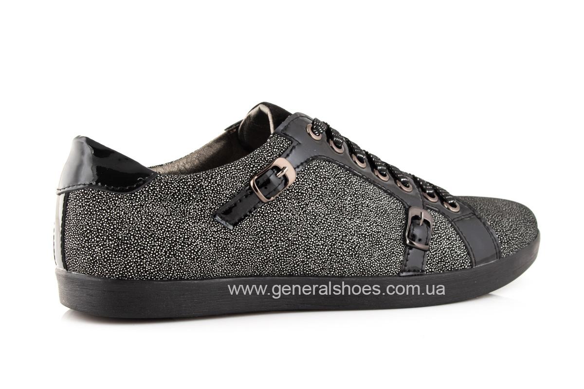 Кроссовки женские кожаные 4555 черные фото 3