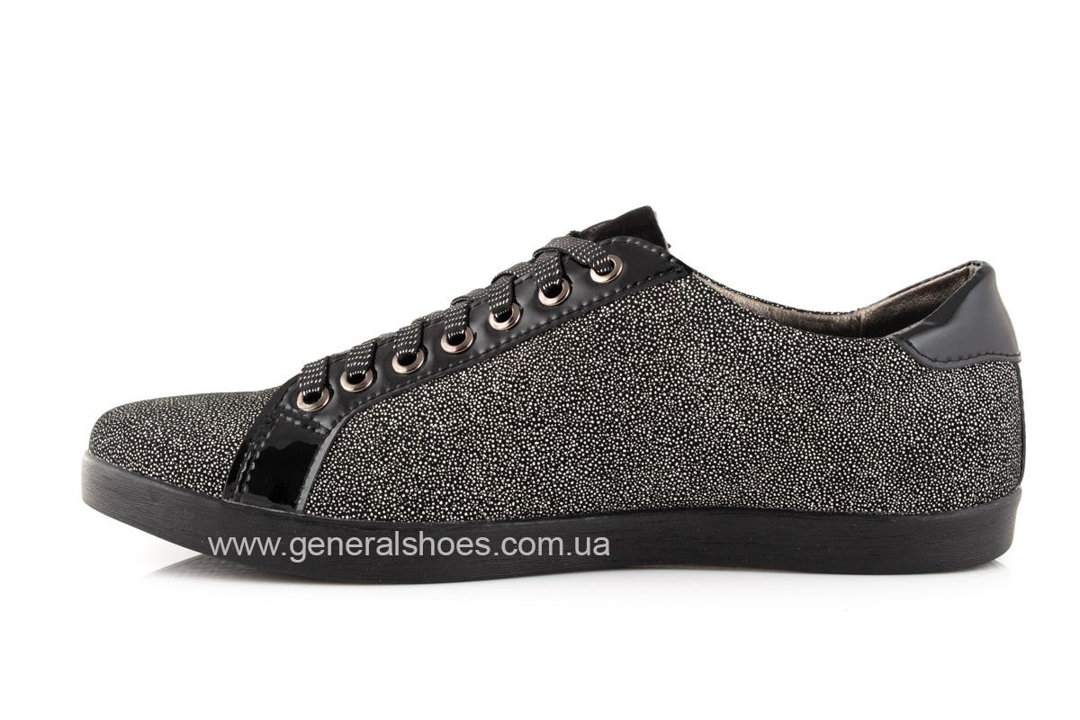 Кроссовки женские кожаные 4555 черные фото 4