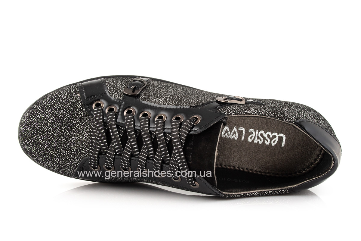 Кроссовки женские кожаные 4555 черные фото 5