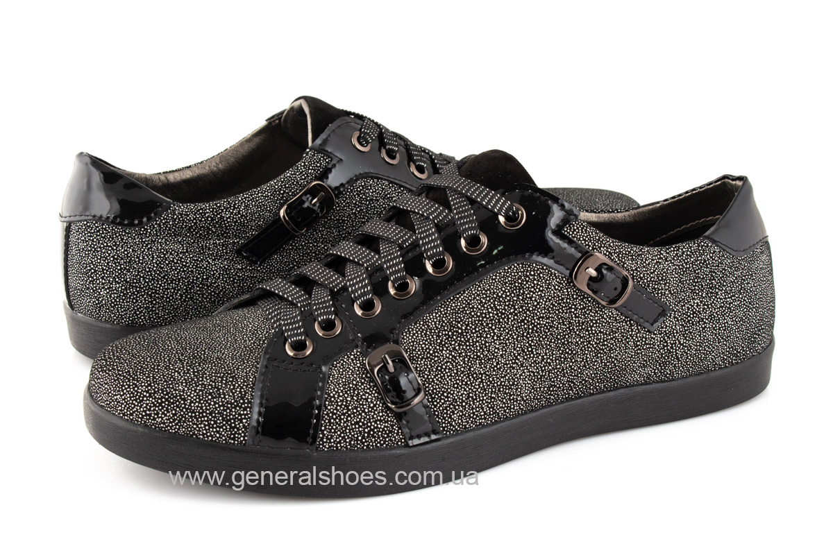 Кроссовки женские кожаные 4555 черные фото 7
