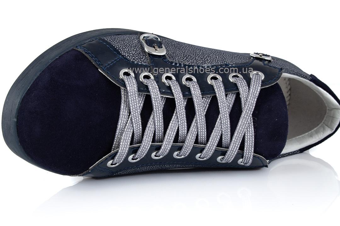 Кроссовки женские кожаные 4555 синие фото 6