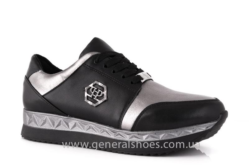 Кроссовки женские кожаные GL 1601 черные бронза фото 1