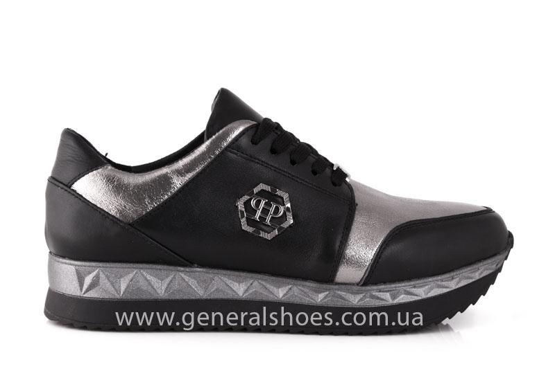 Кроссовки женские кожаные GL 1601 черные бронза фото 2