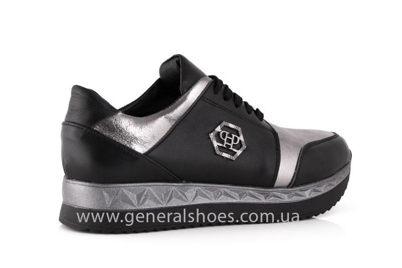 Кроссовки женские кожаные GL 1601 черные бронза фото 3