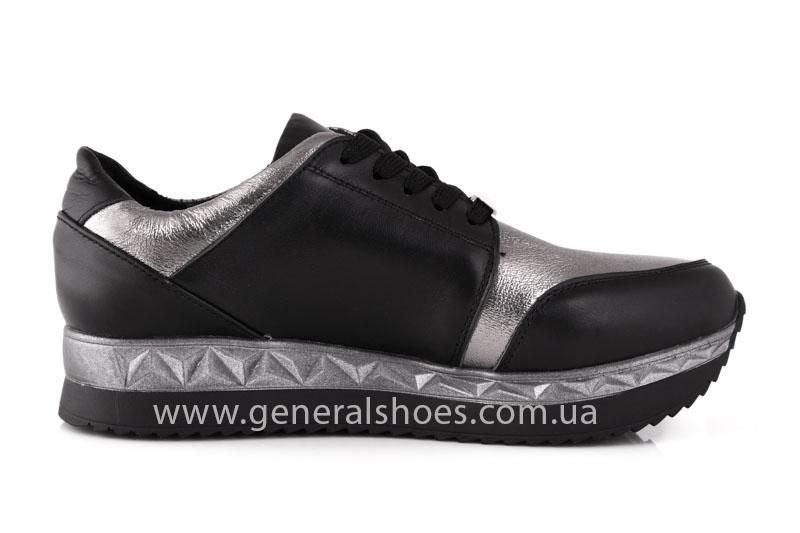 Кроссовки женские кожаные GL 1601 черные бронза фото 5