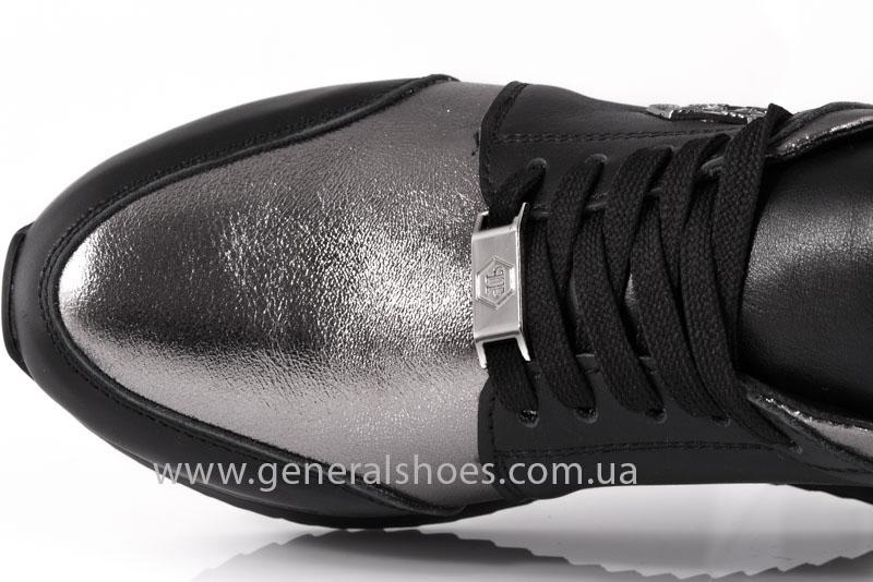 Кроссовки женские кожаные GL 1601 черные бронза фото 6