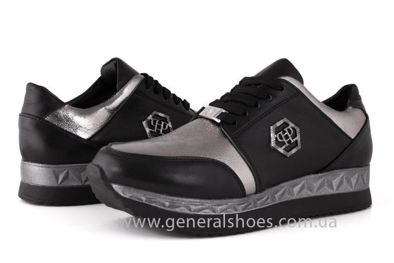 Кроссовки женские кожаные GL 1601 черные бронза фото 9