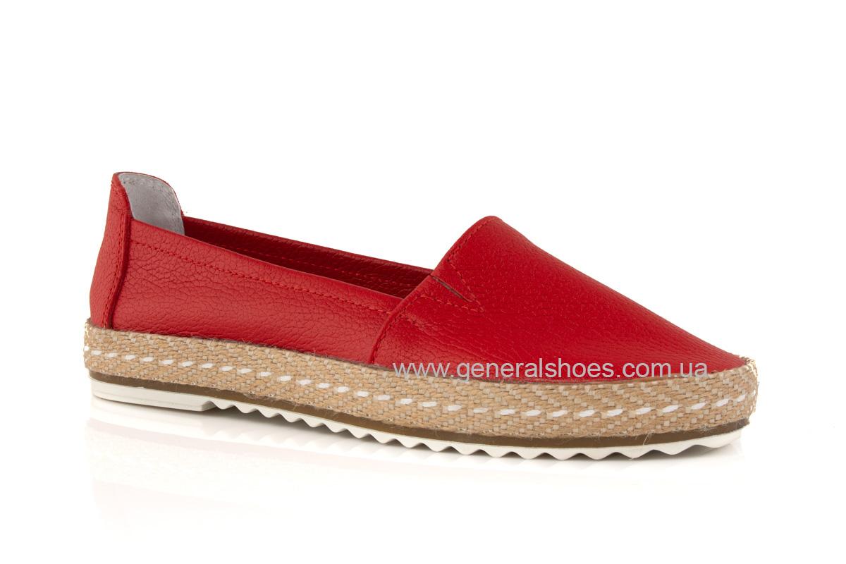 Женские кожаные эспадрильи 107 красные фото 1