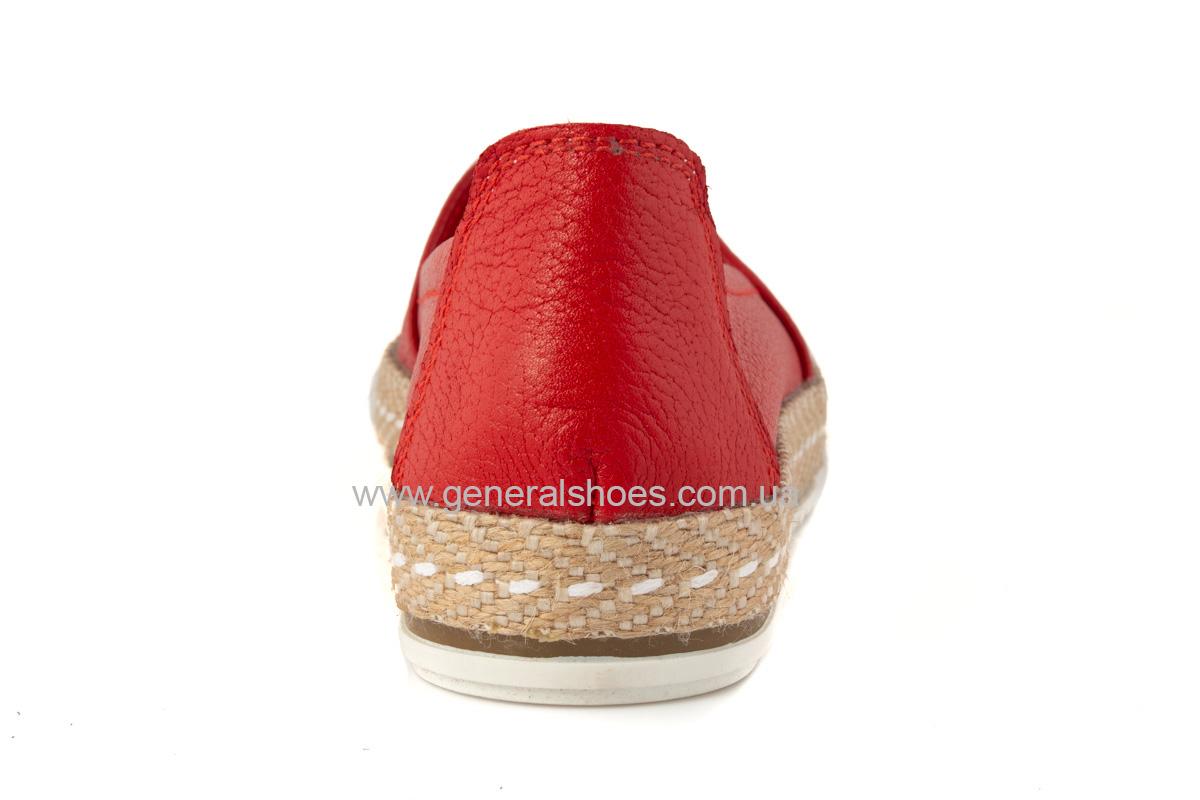 Женские кожаные эспадрильи 107 красные фото 4