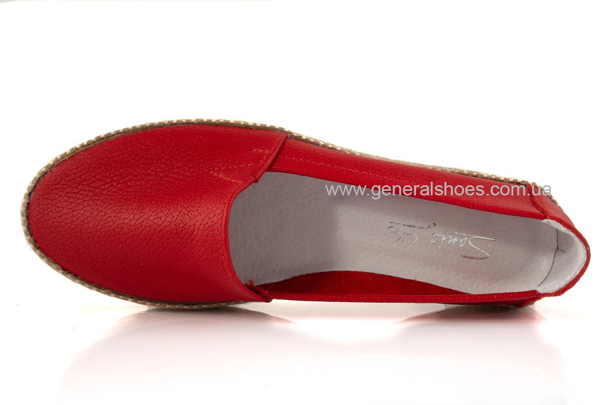 Женские кожаные эспадрильи 107 красные фото 6